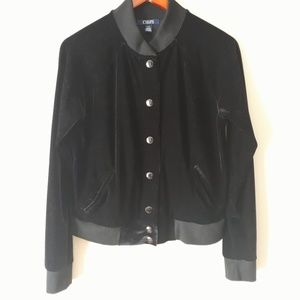 Chaps Stretch Velour Bomber Jacket